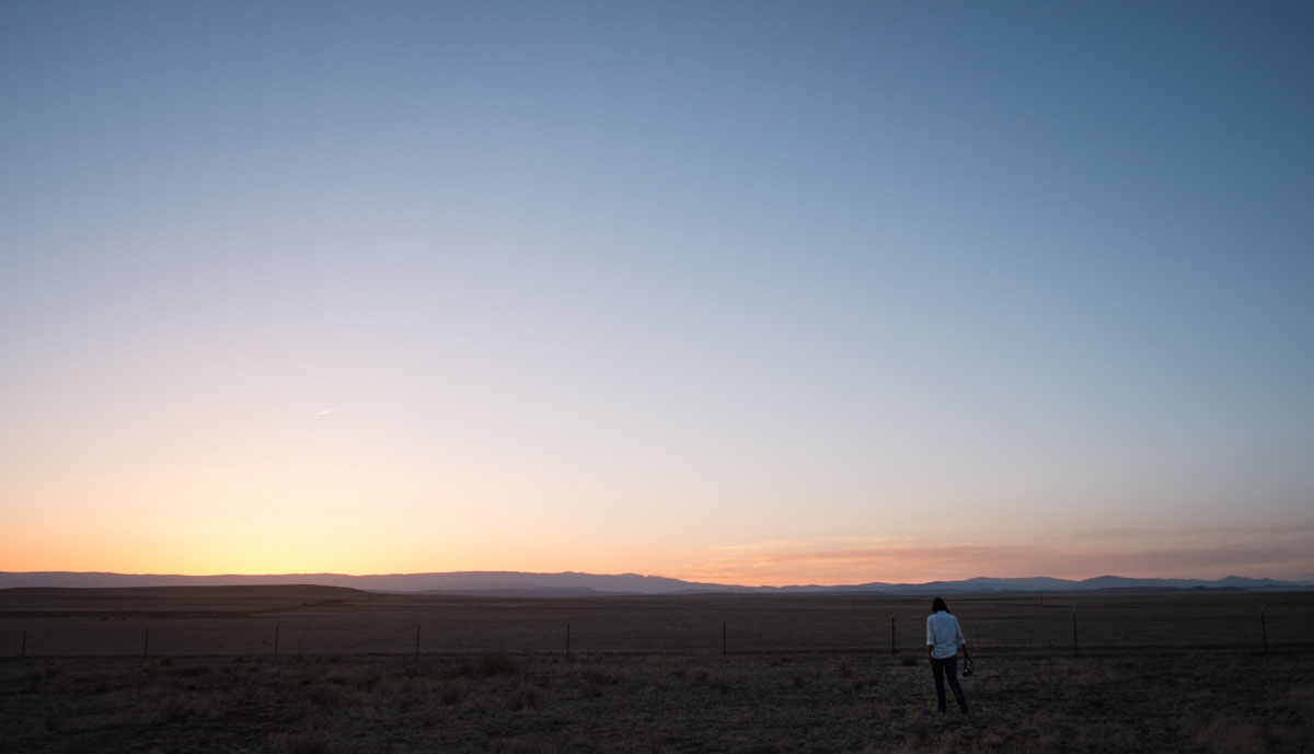 Charlene and the Setting Sun in New Mexico.
