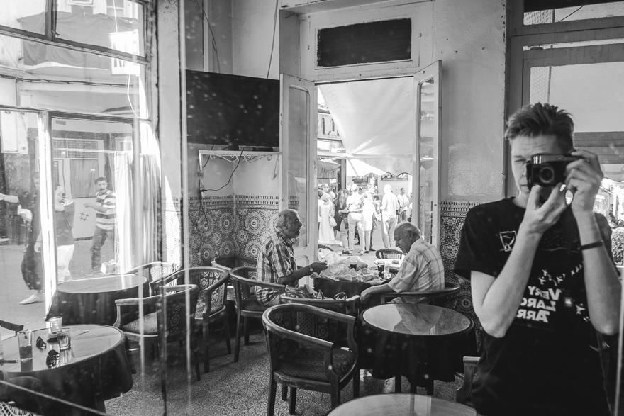 Mirror me at Café Tingis, Tangier, Morocco.