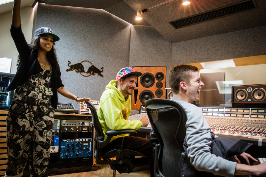Alo Wala, DJ Copyflex and Julius Sylvest recording in Red Bull Studios Copenhagen.