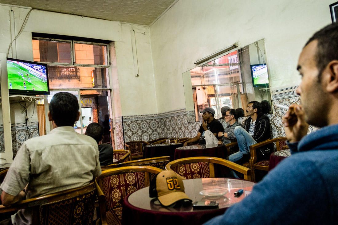 Tingis Cafe in Tangier, Barcelona football game