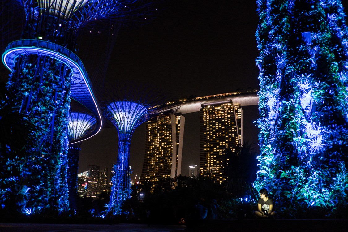 Charlene at Gardens at the Bay with that insane scifi Marina Bay hotel feat 3 towers with a boat on top!
