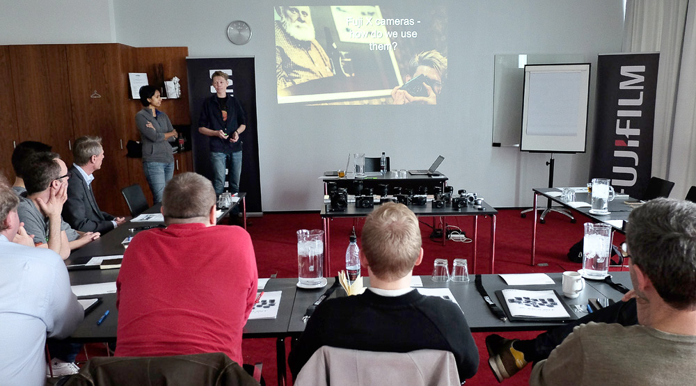 Charlene and I doing our presentation of how we use our Fuji cameras, showing our work.