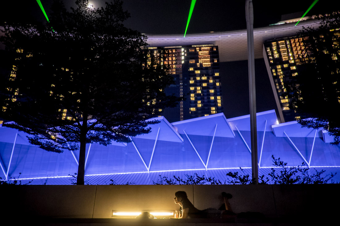 Charlene writing at Marina Bay during the laser show
