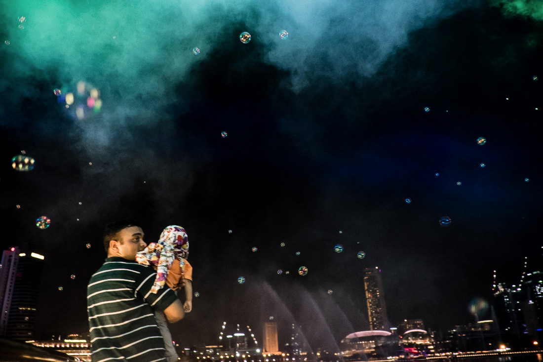 Laser show and soap bubbles at Marina Bay