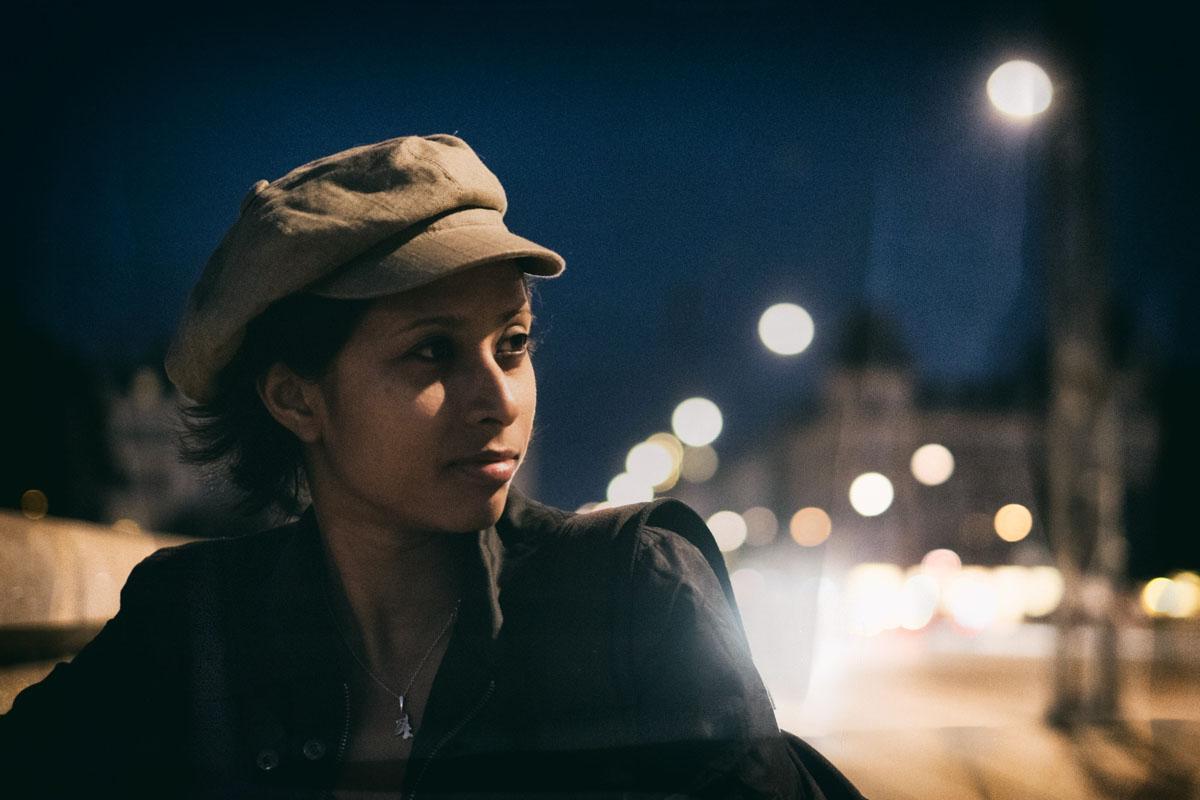 Charlene caught in the light at Hipster Bridge in Copenhagen