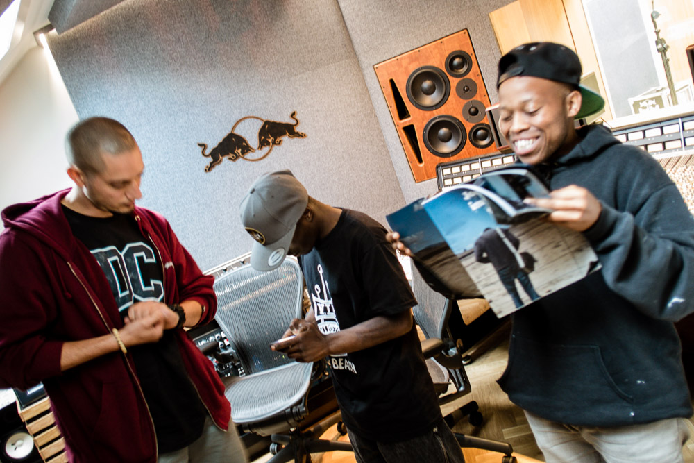 """88 pages, you're kidding right?"" - Omar Offendum and the guys of Okay Funky 'enjoying' my previous portfolio magazine at Red Bull Studios, Copenhagen"