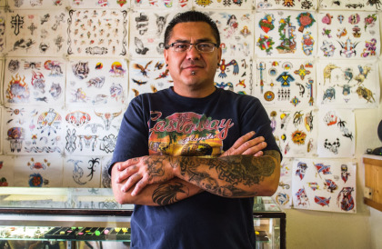 Mo in his Tattoo shop in TorC, New Mexico