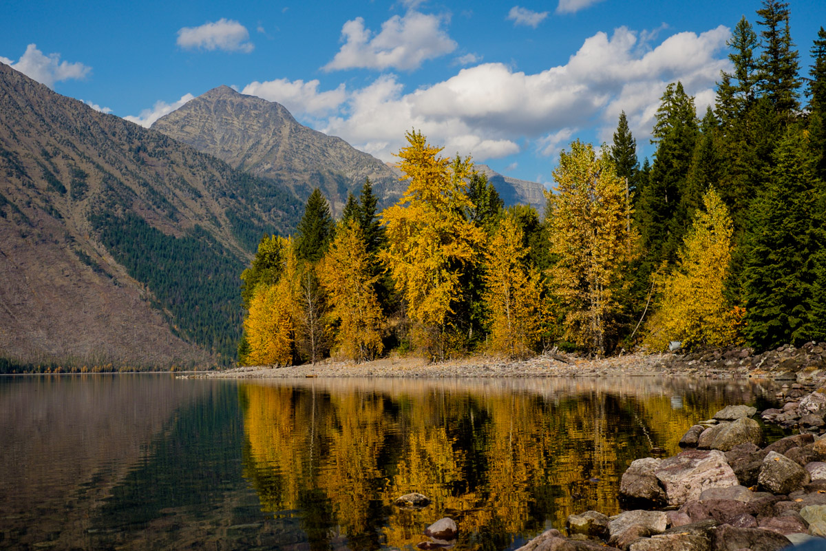 The author attempts landscape photography at Lake McDonald (he has heard reflections are good!)
