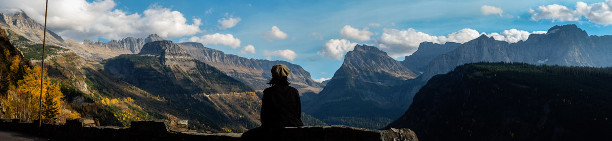 Soaking up the absolutely magic of Glacier NP - while the author has discovered the panorama setting on his camera.