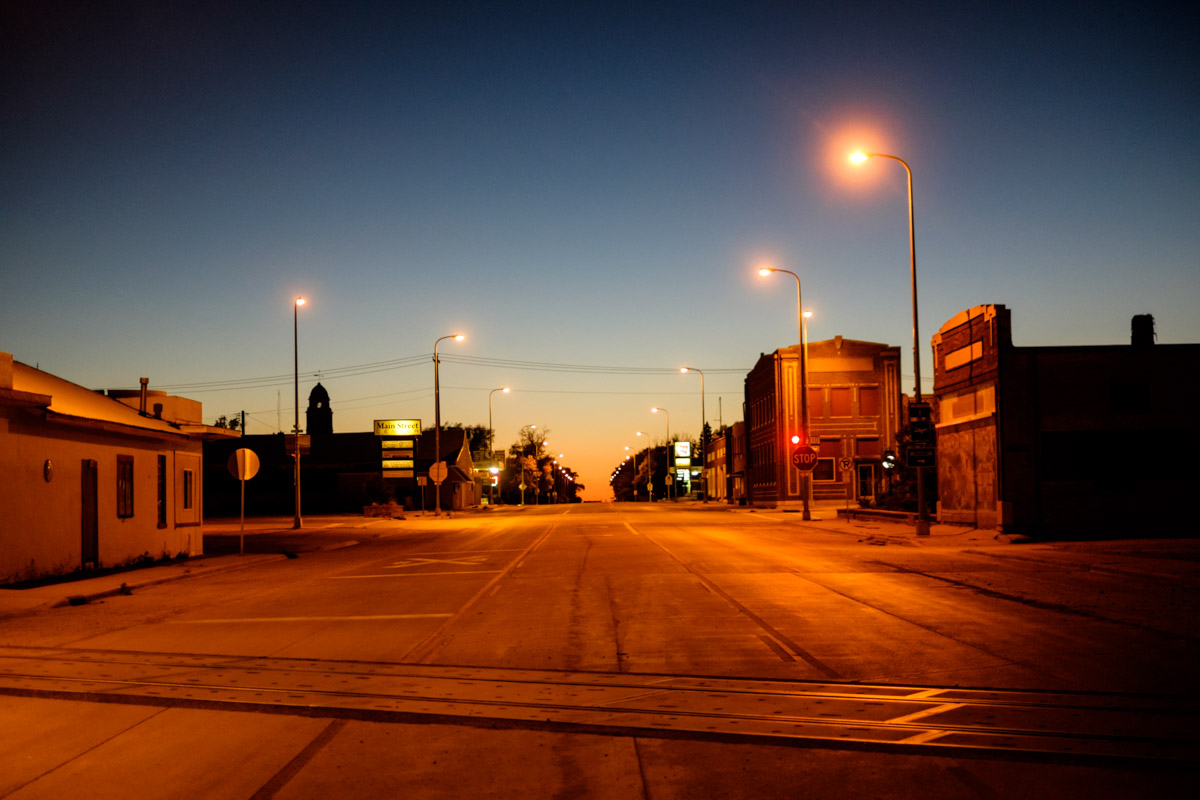 The main road of Britton in dusk light. Sunday nights are quiet.