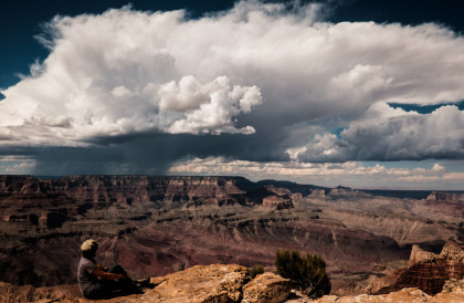 Charlene and the grandest of clouds of Grand Canyon