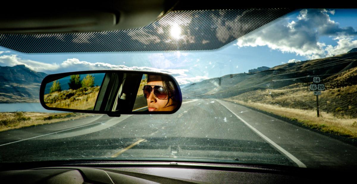 Charlene piloting us through the spellbinding landscapes of Montana. I am on DJing duties.