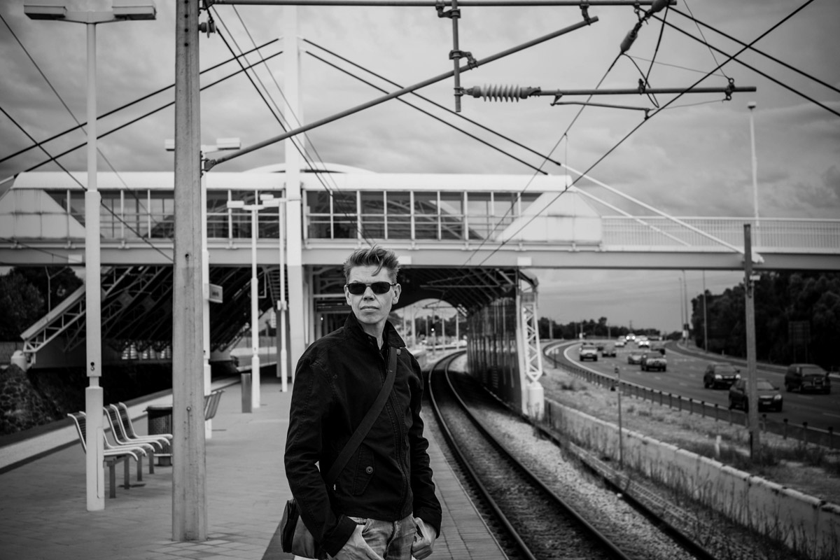 Birthday boy waiting for the train...pretending to be cool...and young