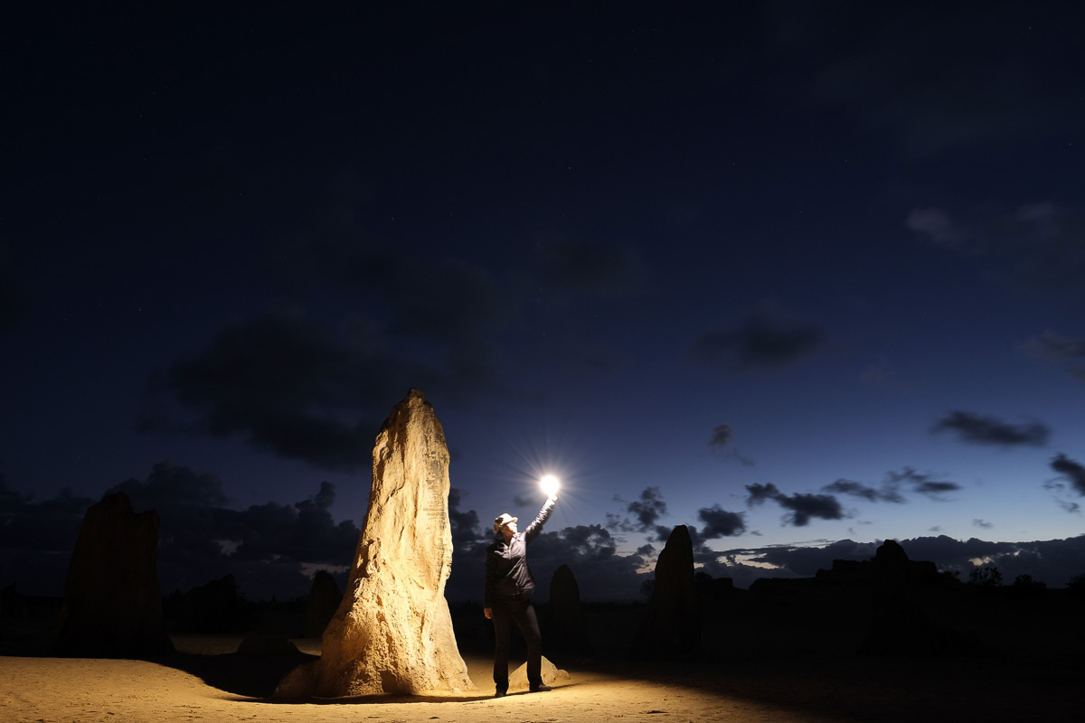 Charlene at Nambung National Park, Australia. Fujifilm X-T1, Fujinon 16mm lens, 5sec at F4.0, iso400 - in camera JPEG