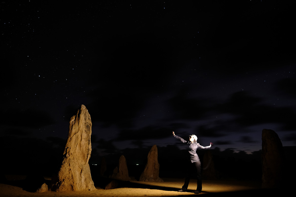 Charlene at Nambung National Park, Australia. Fujifilm X-T1, Fujinon 16mm lens, 30sec at F1.8, iso250 - in camera JPEG