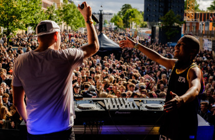 Shaq with Pelle Peter on the mike performs at Red Bull Studios live Gadekryds at Distortion in Copenhagen, Denmark on June 3rd, 2015