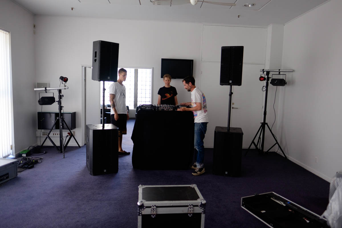 All smiles as Fergus and Mathias from Red Bull setup the sound. Picture by Charlene Winfed.