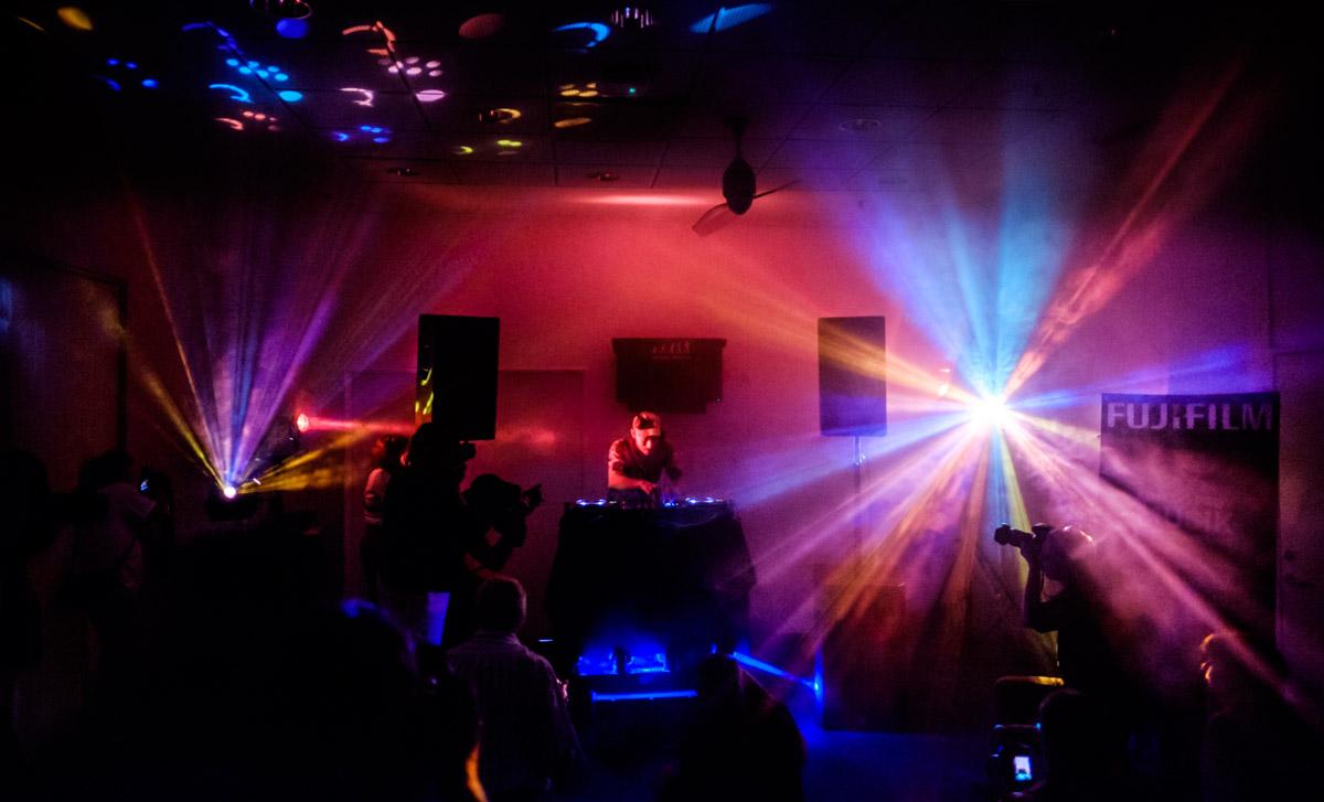 DJ Copyflex and photographers in Fujifilm Nightclub workshop at Photomeetup, Copenhagen, Denmark