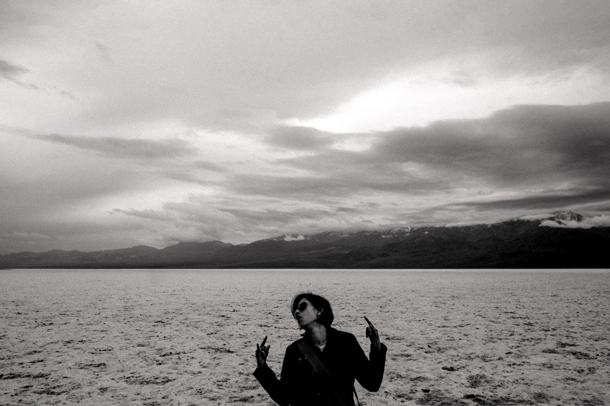 The lead guitarist feels the music at Badwater in Death Valley