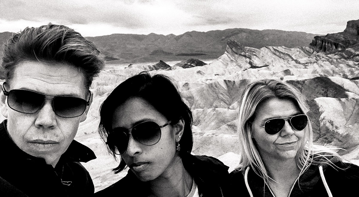 "U3 hanging out at Zabriskie Point in Death Valley. Any resemblance to that other ""U"" band is completely coincidental! U3 are busy shooting record covers. We don't have any music yet but that will come, in the age of selfies we thought we would start with the images. I can just feel we are going to be rich. And save the world."
