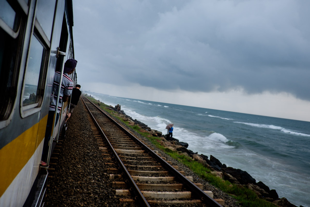 At times you can almost jump into the ocean from the train. It is a fantastic experience, and humbling, look at that threatening storm and ocean.