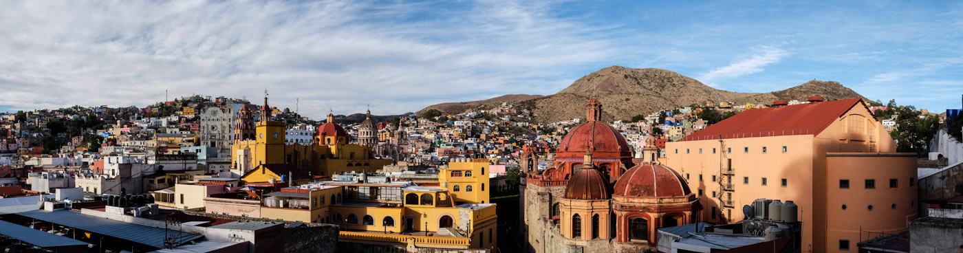 Panoramic view of magical Guanajuato from Luna Bar.