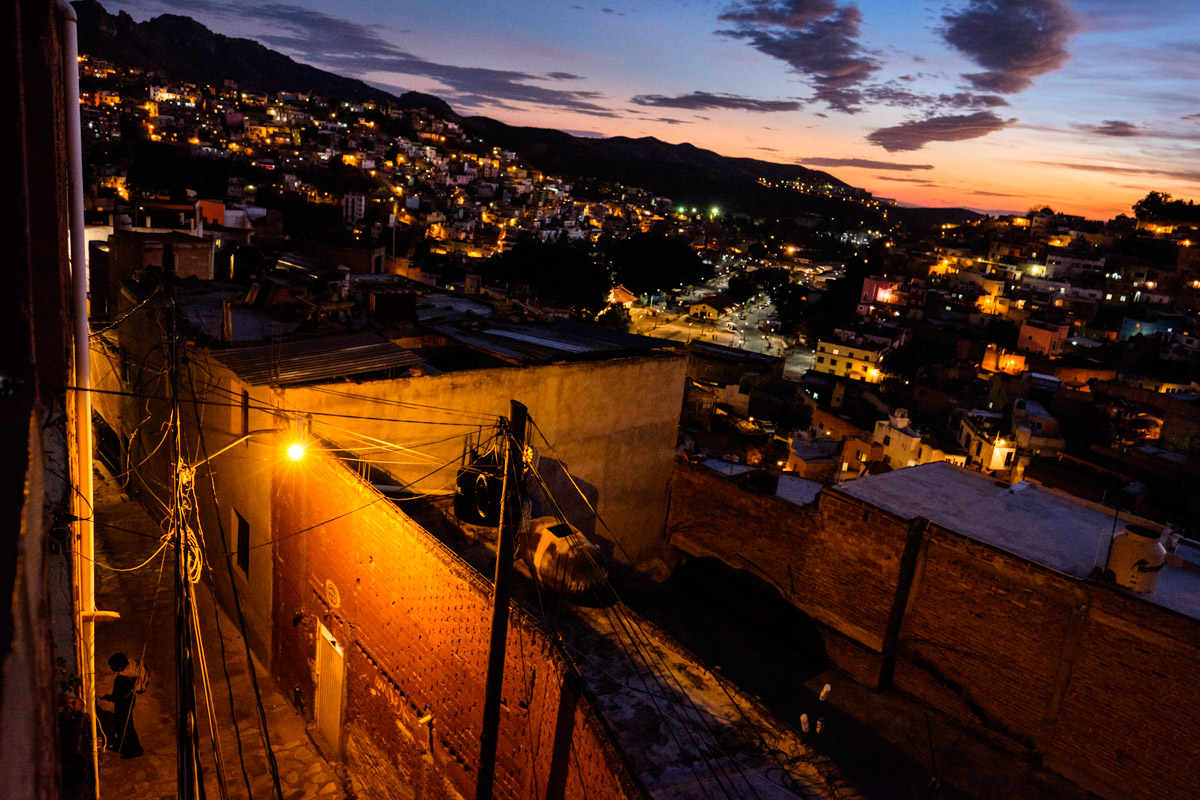 The 16mm lens just managed to fit in the narrow and steep street - callejon - leading up to our flat.