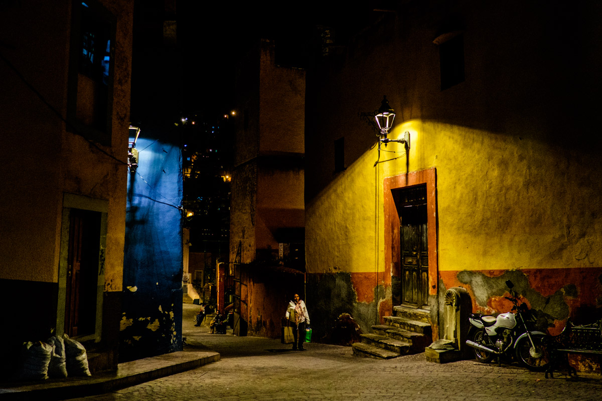 At night the city transforms into another movie set, no ugly street lights anywhere.