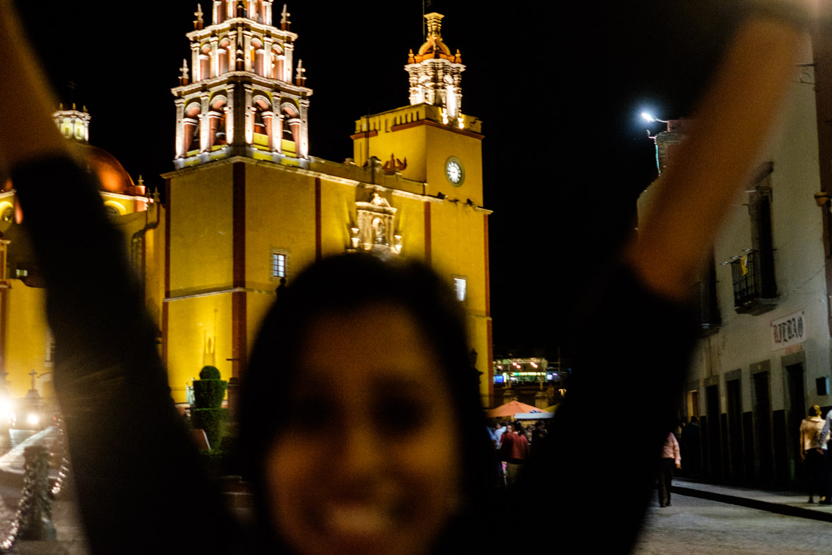 Charlene uses her super powers and perfectly times a photo bomb with my award winning shot of the Basilica!