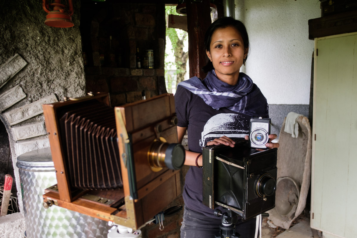 The cameras, Charlene and a geiger counter (ok it's a light meter!)