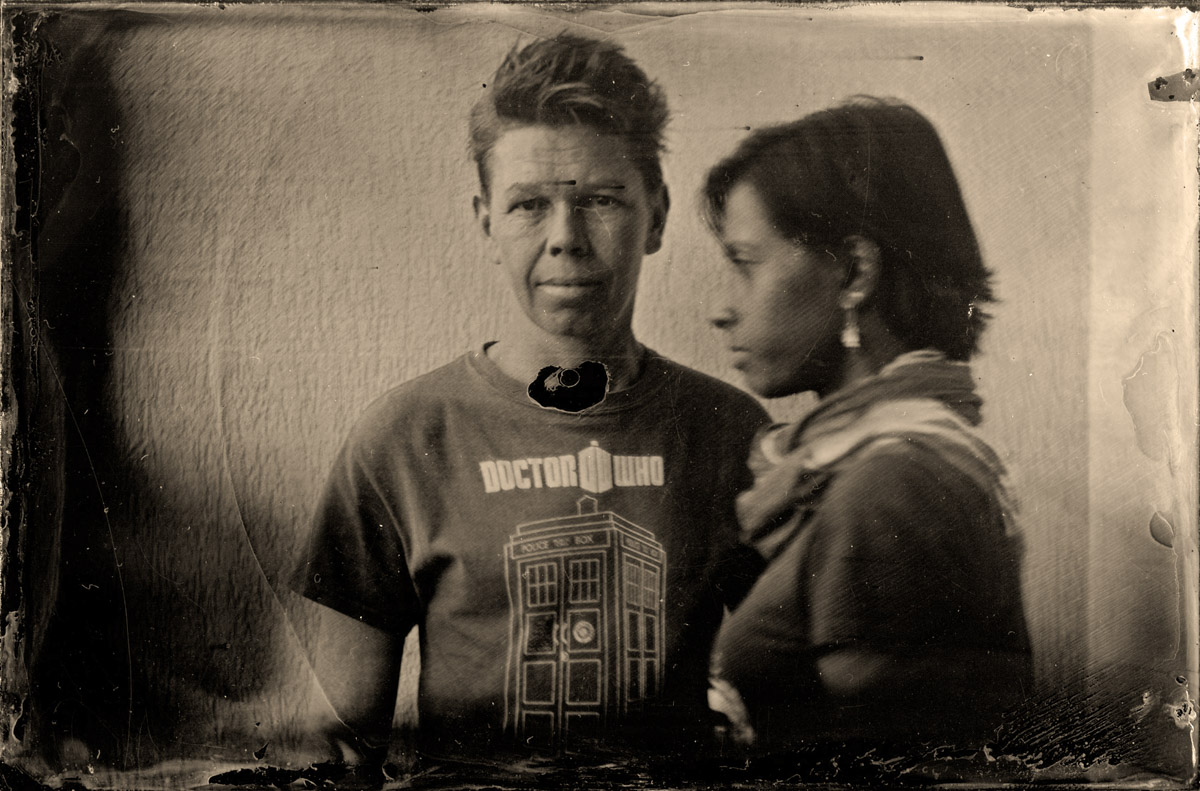 2 gypsies - Photo by Darko Ilic. To demonstrate the process for us, Darko made the first wet plate and I saw a chance to get a portrait of us on wet plate, love this one - thank you Darko!