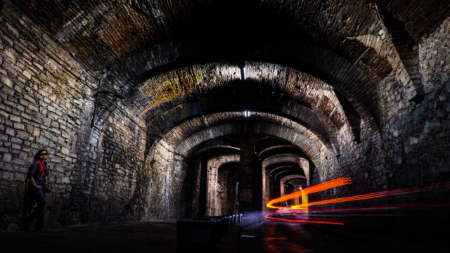 A long exposure, resting my X-T1 on a small pillar, brings The Magic One and a little sci-fi to the tunnels.