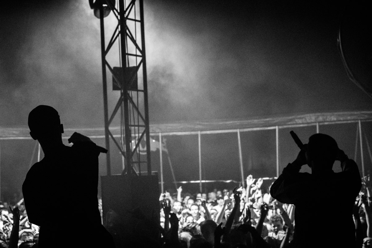 Yung Lean and an excited crowd (and not so exciting tent pole, arrghhh)