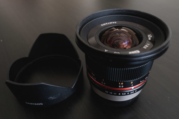 The wonderful Samyang 12mm, small and light but powerful.