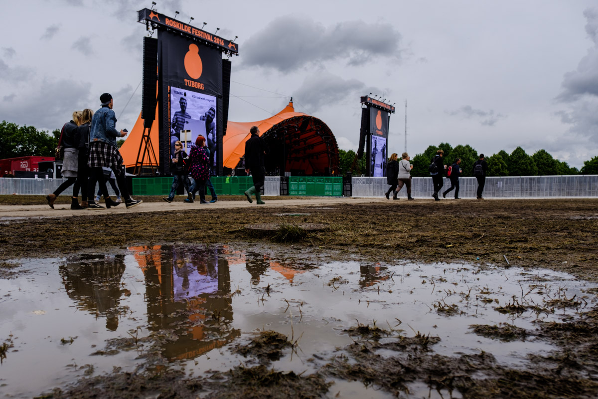 This was not one of the wettest Roskilde festivals but it did rain plenty! Orange Stage one wet morning.